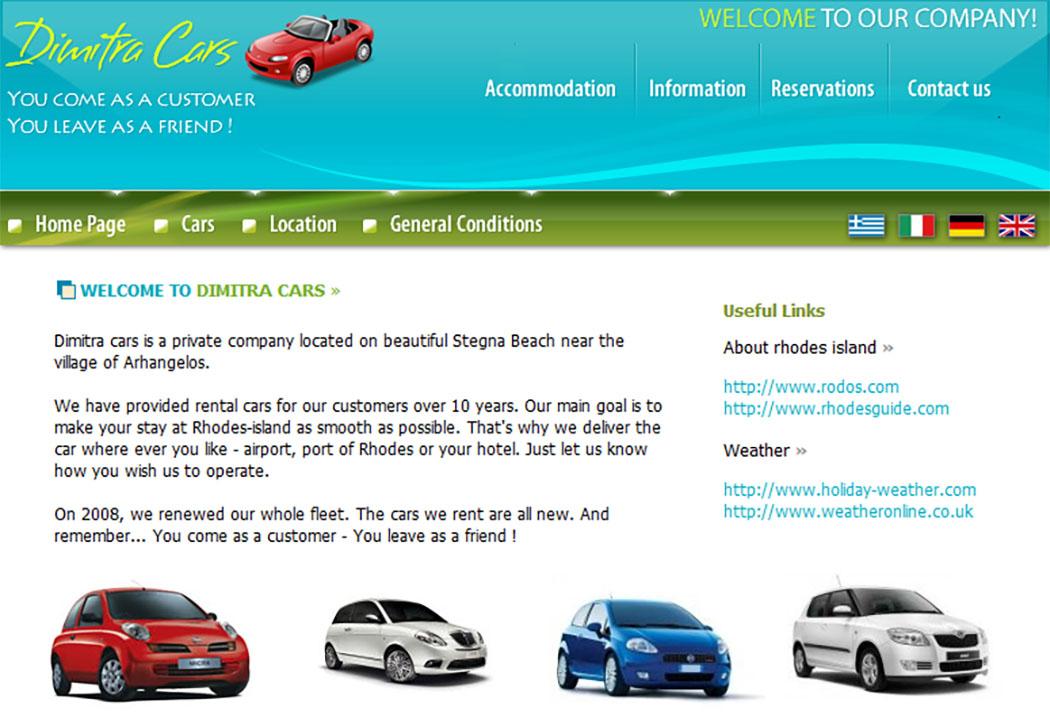 Screenshot der Website von Dimitra Cars in Stegna bei Archangelos aus der Insel Rhodos.
