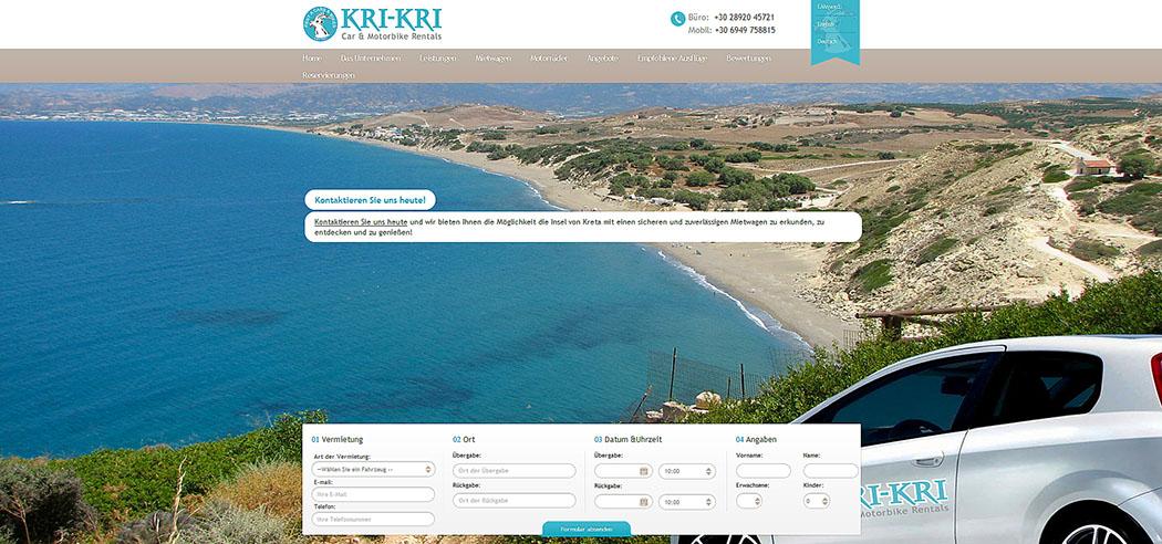 Kreta: KRI-KRI Car Rentals in Pitsidia und Matala - KRI-KRI Car Rentals kri-kri cars-motorbikes-pitsidia-kreta Der Screenshot der Website von KRI-KRI Car Rentals zeigt den Komos Beach bei Pitsidia.