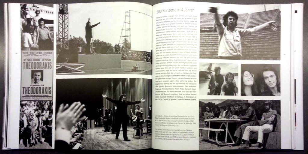 Doppelseite aus dem Bildband: 500 Konzerte in vier Jahren mit Maria Farantouri und Petros Pandis.