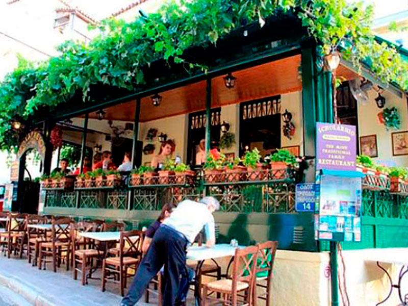 "Die Aussenansicht vom Restaurant ""Sholarhio"" To Yerani & Ouzerie Kouklis, Plaka, Athen"