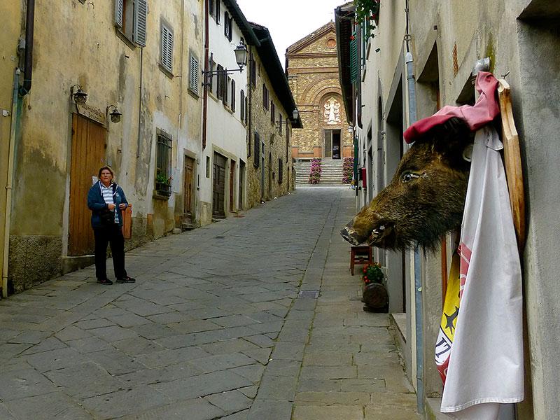 Die Hauptstraße zur Kirche Santa Maria Assunta, von einem Wildschwein bewacht...