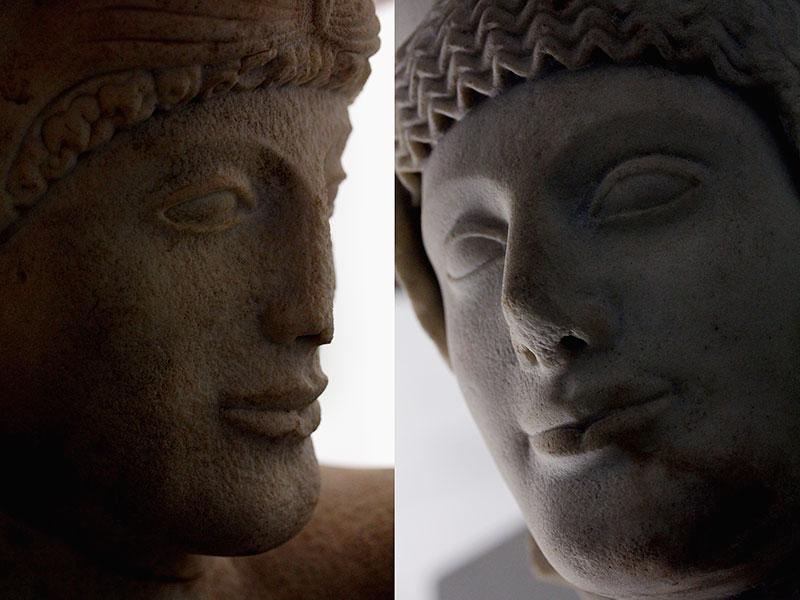 Kriegergesichter aus dem Museum von Ägina.