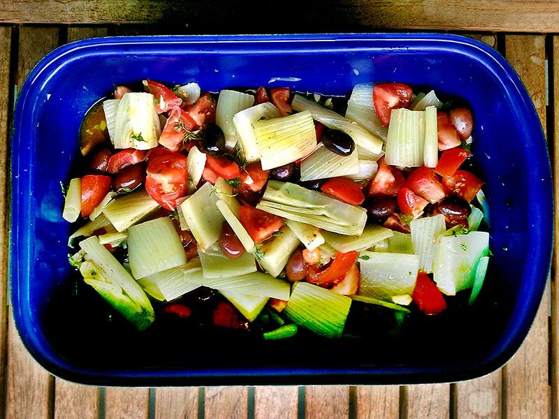 So sieht das ganze aus, bevor das Gemüse in den Ofen kommt.