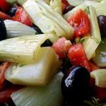 Fenchel, Tomaten und Oliven aus dem Ofen