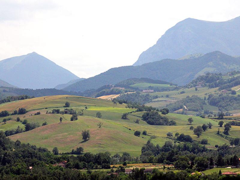 Landschaft beim Weiler Santa Lucia die Calamello, dem Fundort der Statuen.