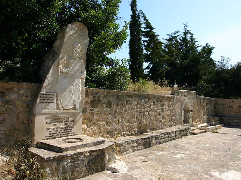 Gedenktafel des legendären Freiheitskämpfers Ioannis Markakis (1788 - 1829).
