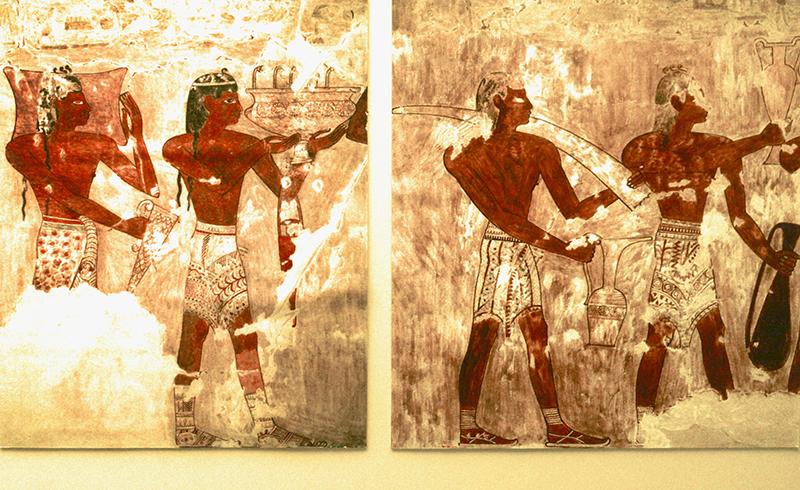 Minoer bieten ihre Waren an. Das Fresko stammt aus Ägypten, Grab des Rekhmire, 1504-1525 v. Chr., Theben.