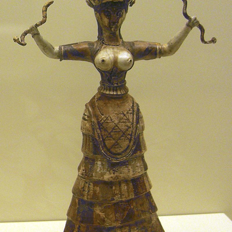 Schlangengöttin oder eine Priesterin bei der Durchführung eines entsprechenden Rituals, aus dem Palast von Knossos