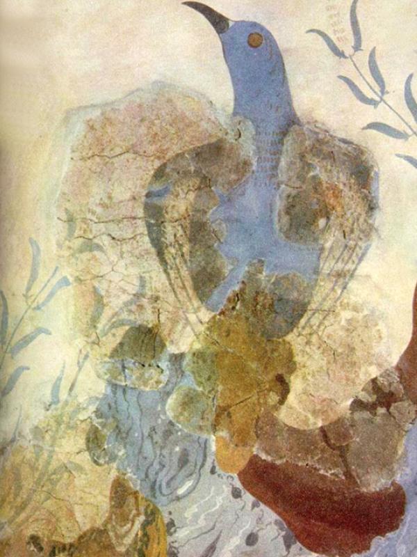 Fresko mit blauer Taube aus dem Palast von Knossos.