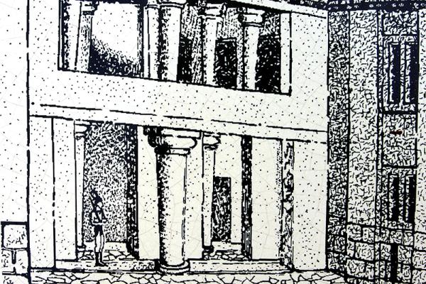 Rekonstruktions-Zeichnung des Eingangsbereichs.