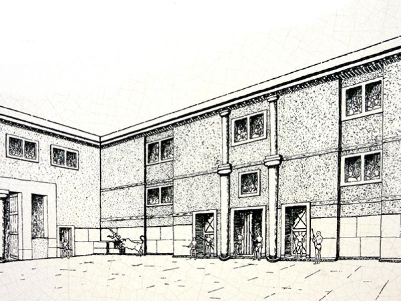 Rekonstruktions-Zeichnung des großen Hofs mit den Gebäuden.