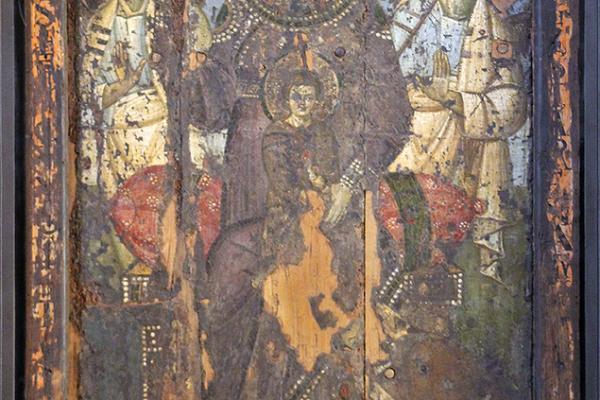 """Über dem Altar der Cappella Altemps befindet sich die monumentale Ikone """"Maria Regina"""" aus dem Jahr 705."""