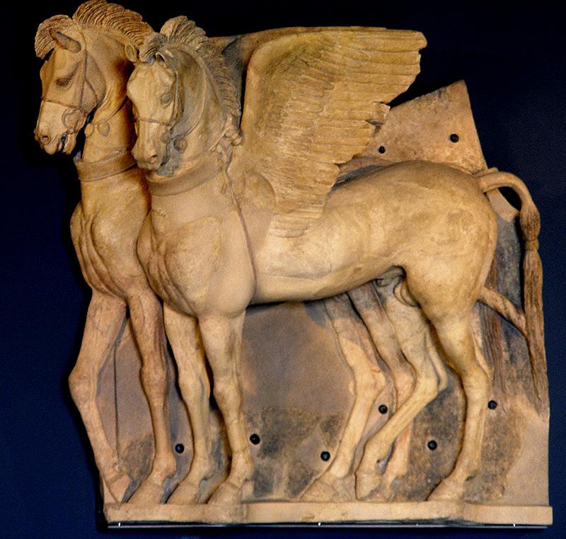 Die geflügelten Pferde im Museo Nazionale Tarquiniense