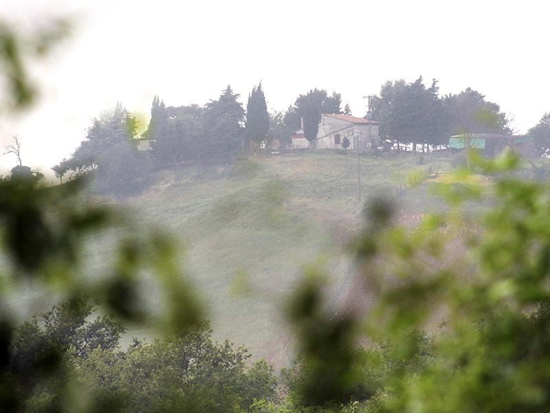 Ein Bauernhof in der Nachbarschaft im Regendunst.