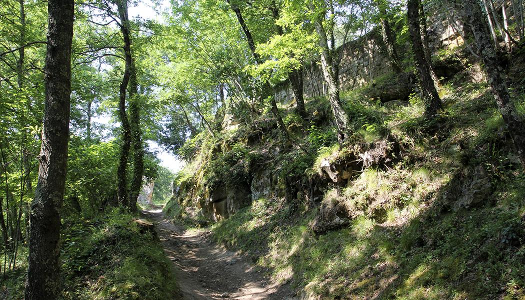 Pitigliano, Sovana und Sorano Vitozza liegt umgeben von dichtem Wald. Hier befindet sich eine verlassene Siedlung mit Wohnhöhlen.