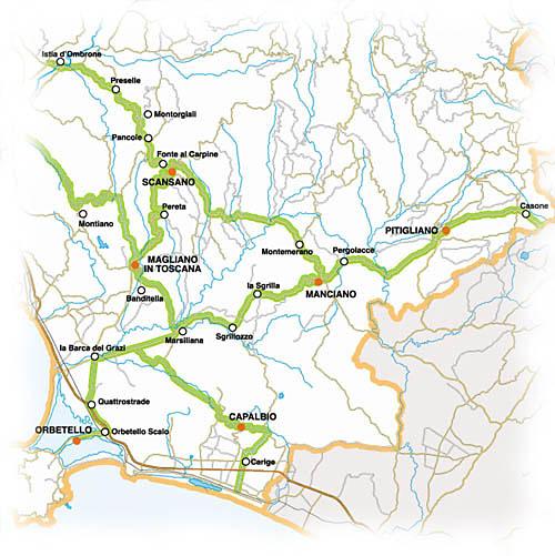 Strada del Vino Colli di Maremma - Die Karte zeigt den Verlauf der Strada del Vino Colli di Maremma.