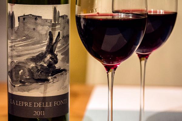 """Wir haben zum Arista alla fiorentina einen IGT """"La Lepre"""" der Fattoria Le Fonti, aus der Toskana, getrunken."""