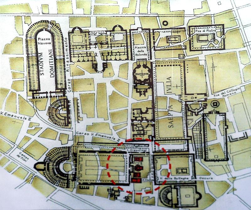 Das Forum am Largo Argentina (Kreis). Das querliegende Gebäude ist das Theater des Pompeius. Hier wurde Caesar ermordet. In der Karte ist nördlich des Forums das Pantheon, westlich das Stadion des Domitian - die heutige Piazza Navona zu sehen.