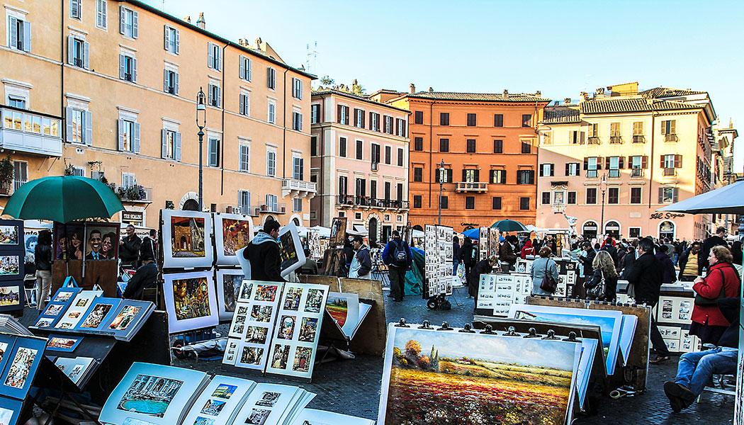 Rom: Rundgang über das Marsfeld - Die Piazza Navona ist einer der charakteristischen Plätze des barocken Rom im Stadtviertel Parione.