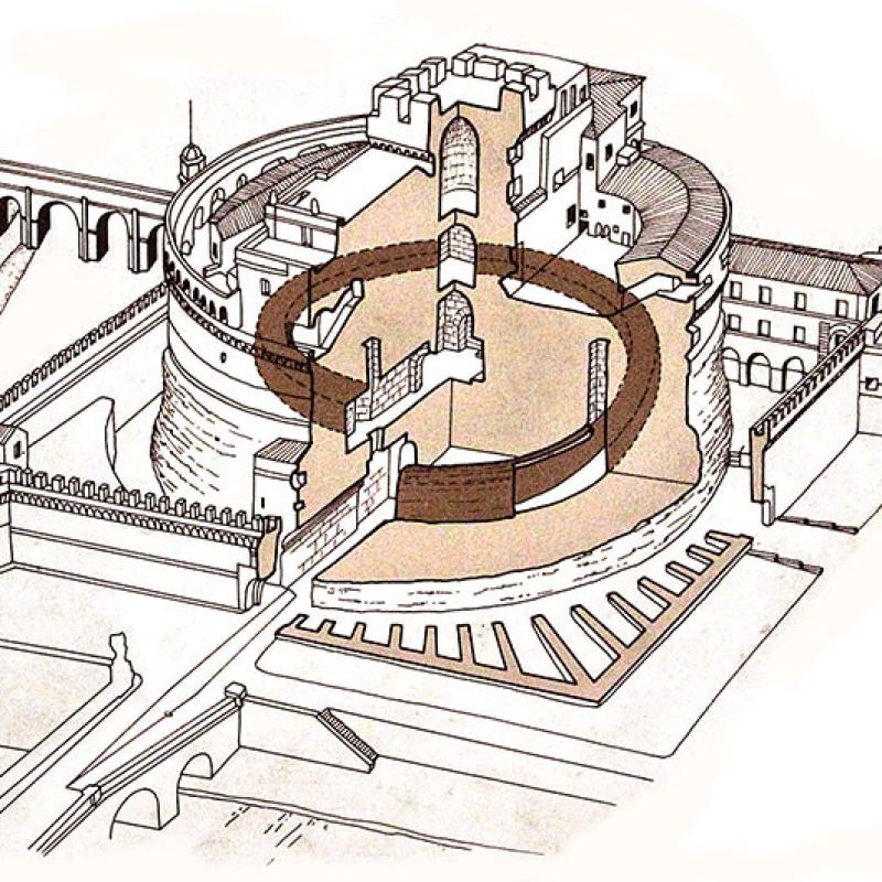 Plan des Castel Sant'Angelo mit dem spiralförmigen Aufgang.