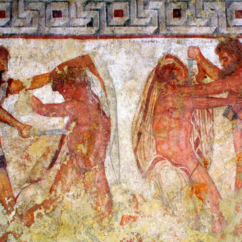 Die berühmten Fresken der Tomba Francois, Ausschnitt: Die Überwältigung von etruskischen Kriegern durch Soldaten aus Vulci, 3. Jdh. v. Chr., Grab der Familie Saties, aus Vulci