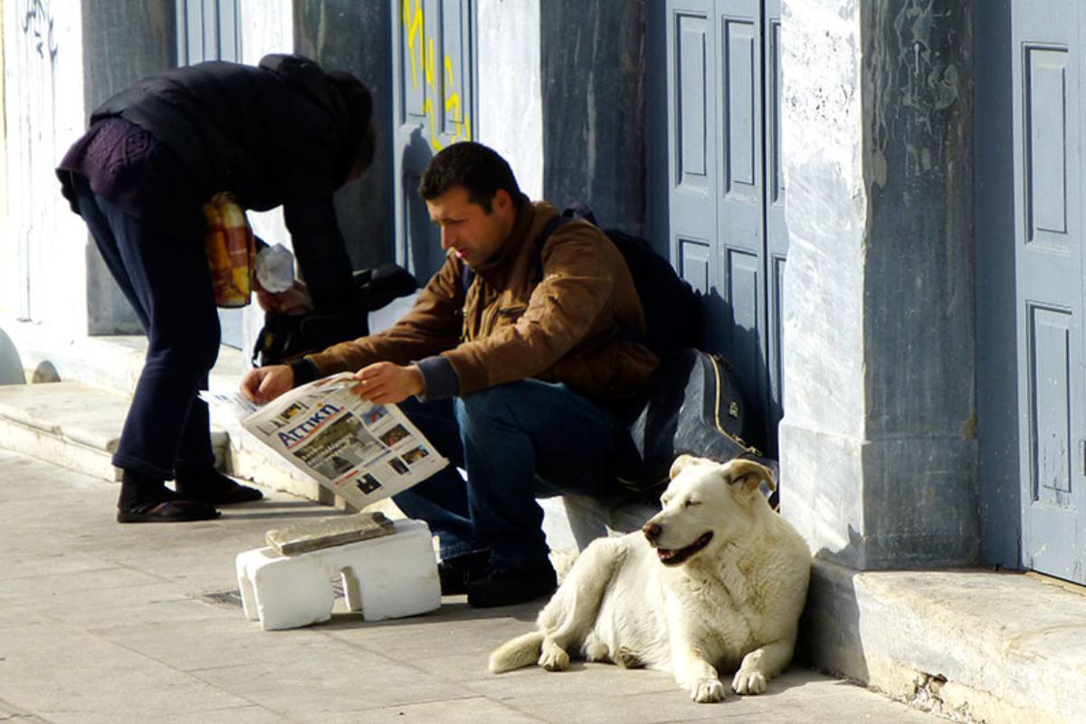 Ein warmes Sonnenbad in der Frühlingsluft, daneben ließ ein Straßenmusiker die Sonntagszeitung. Die Athener mögen die Straßenhunde ihrer Stadt.