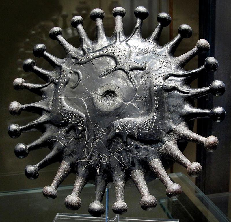 Tonschale in Bucchero-Technik mit Stier und Widderabbildungen, 4. Jhd. c. Chr, Tomba Calabresi, Ceveteri