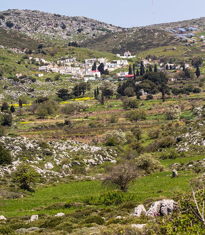 Das Dorf Sitanos liegt oberhalb einer kleinen Ebene, die mit gepflegten Felder und Gärten gewirtschaftet wird.