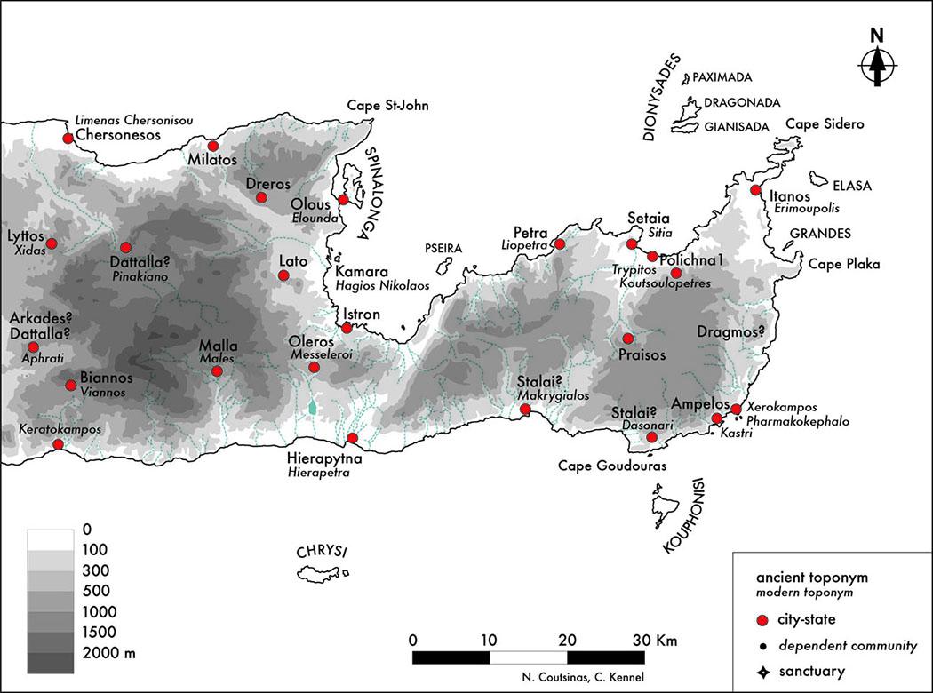Eastern Crete in the 4th century B.C. - Die Karte zeigt die unabhängigen Stadtstaaten in Ostkreta im 4. Jahrhundert v. Chr. Zu Beginn des 3. Jahrhunderts v. Chr. kontrollierte Praisos die meisten Städte im Osten. Praisos wurde von Hierapytna in der Mitte des 2. Jahrhunderts v. Chr. erobert. Im Osten blieb vermutlich nur Itanos übrig.