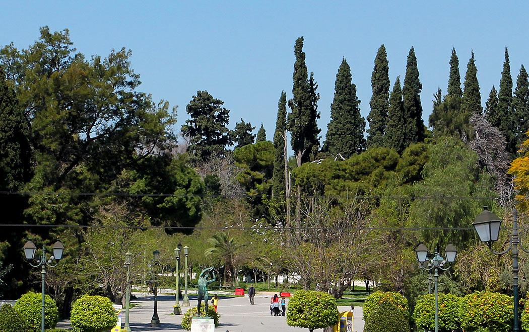 Der Nationalgarten befindet sich in der Nähe des Syntagma-Platzes in Athen. Als ehemaliger Schlossgarten grenzt er an das frühere Stadtschloss und heutige Parlamentsgebäude.