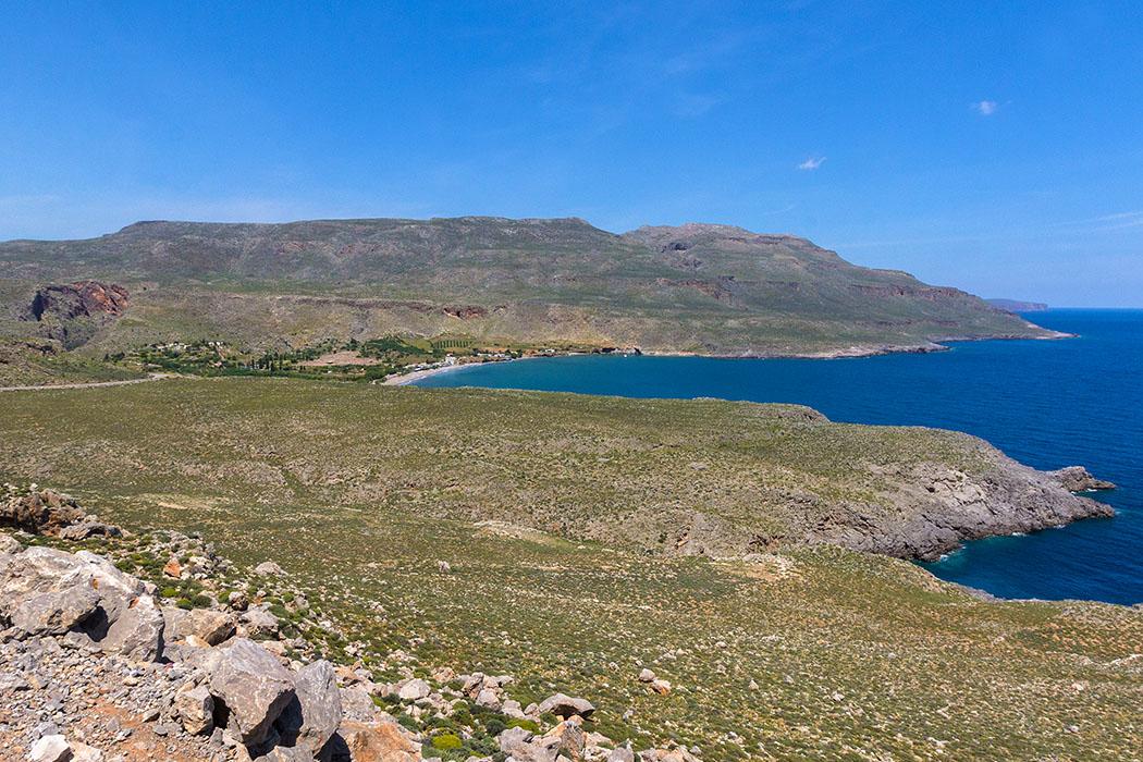reise-zikaden.de - Griechenland, Kreta, Osten, Lasithi, Sitia, Zakros, Kato Zakros, Panorama, Strand.