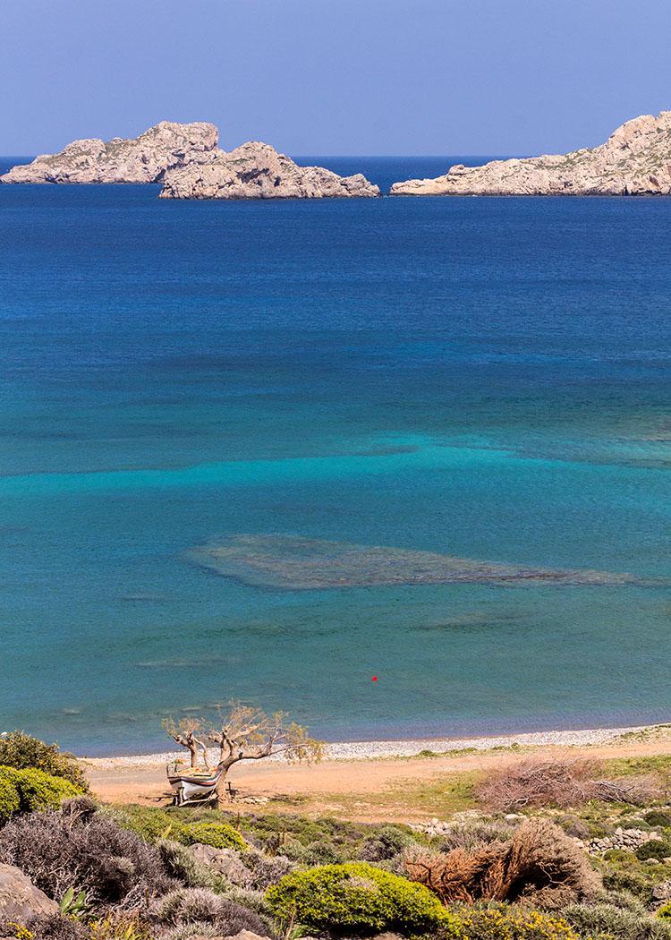 reise-zikaden.de - Griechenland, Kreta, Ostkreta, Lasithi, Sitia, Xerokampos, Mazida Ammos, Beach, Strand, Baden, Sandstrand, Boot.
