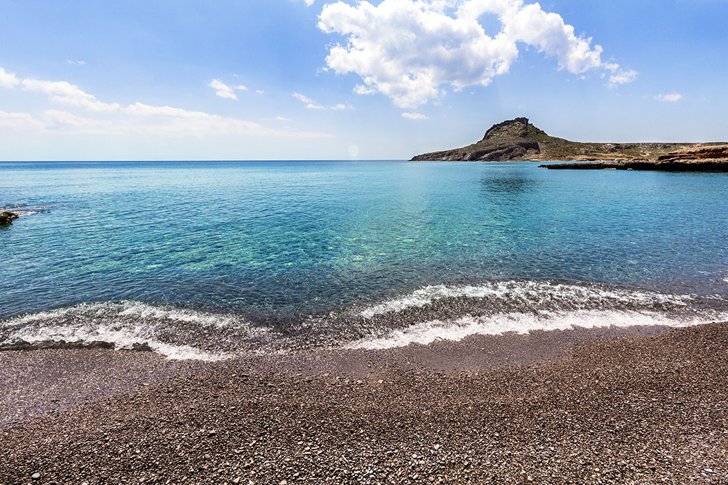 reise-zikaden.de - Griechenland, Kreta, Ostkreta, Lasithi, Sitia, Ziros, Xerokampos, Ligias Lakkos, Beach, Strand. - Den feinen Kiesstrand Ligias Lakkos haben wir für einen ganzen Tag für uns alleine.