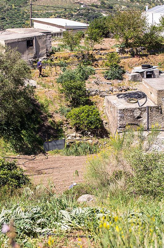 Auch hier werden die kleinen Felder bebaut. Ganz unten ist Michalis zu sehen, Ansoula gießt den Garten.