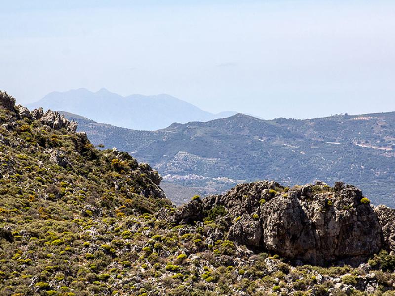 Phänomenale Aussicht in Richtung Thripti-Gebirge zum höchsten Gipfel dem Afentis Stavromenos (1476 Meter).