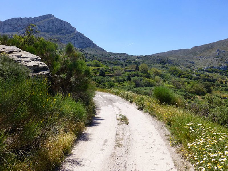 Der Gipfel des Prinias ist schon gut sichtbar. Wir fühlen uns wie in einem riesigen Steingarten.
