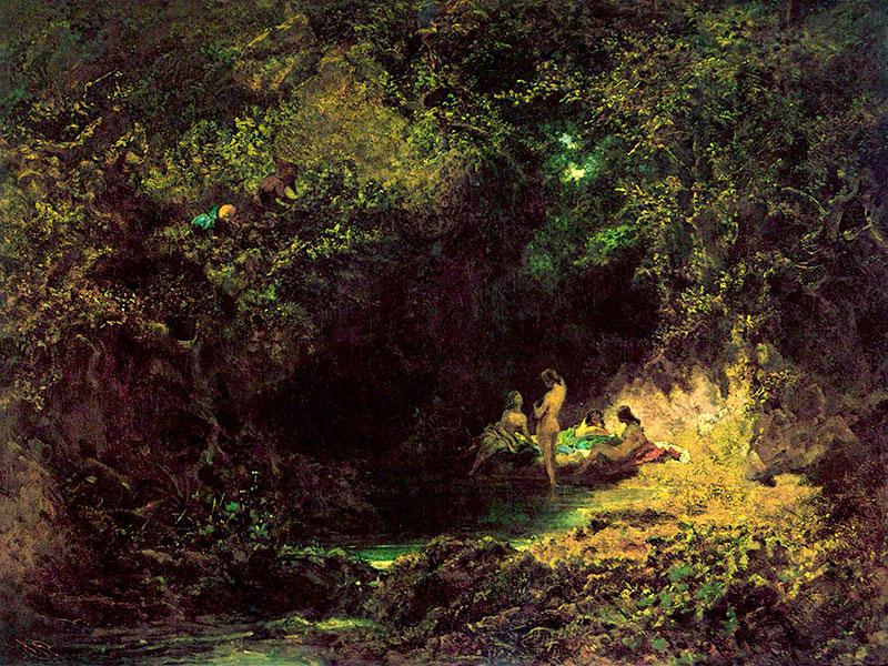 Badende Nymphen, Ölgemälde von Carl Spitzweg aus dem Jahr 1873.