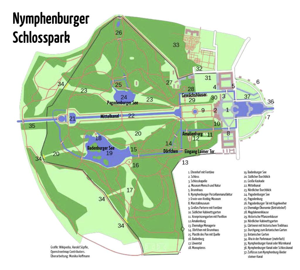 Grafik Nymphenburger Schlosspark München