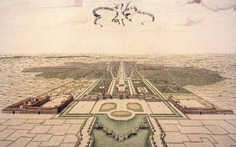 Der Park war Teil eines kurfürstlichen Jagdreviers, das von von Forstenried bis Allach reichte. Ein Alleensystem verband Schloss, Park und Umlang miteinander. Zeichnung aus dem Jahr 1723.
