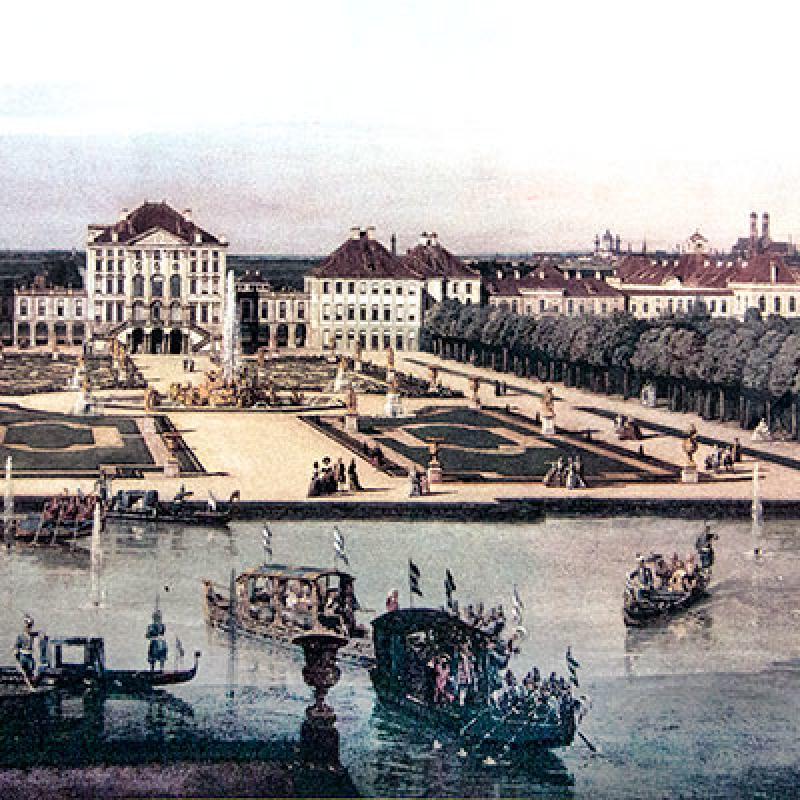 Canaletto zeichnete 1761 Schloss Nymphenburg. Damals diente das Schloss der Selbstdarstellung der barocken Fürsten und dem Zeitvertreib der höfischen Gesellschaft.