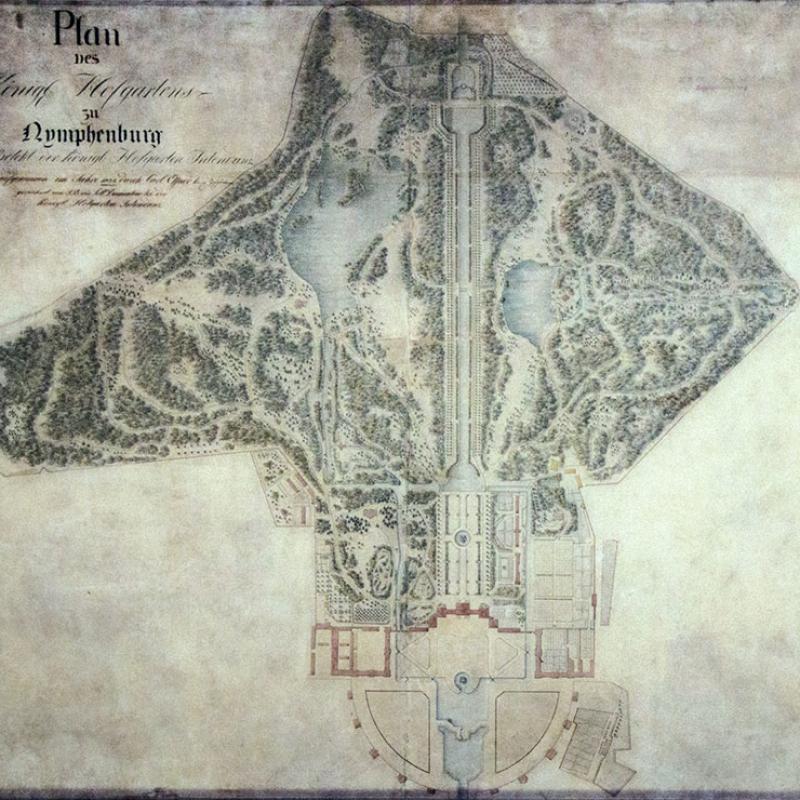 Im Jahr 1832 ließ Sckell den fertigen Landschaftspark vermessen, diese detaillierte Karte con Nymphenburg ist heute besonders wertvoll.
