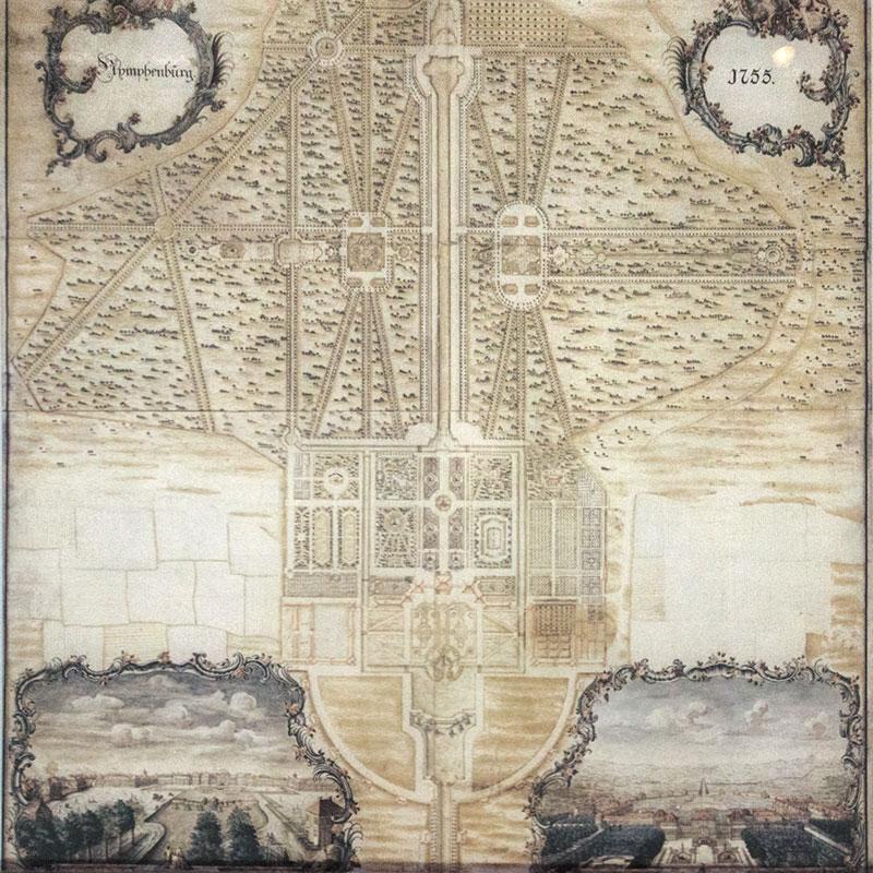 Plan von Nymphenburg aus dem Jahr 1755. Die schnurgeraden Wege sind in der Karte gut erkennbar.