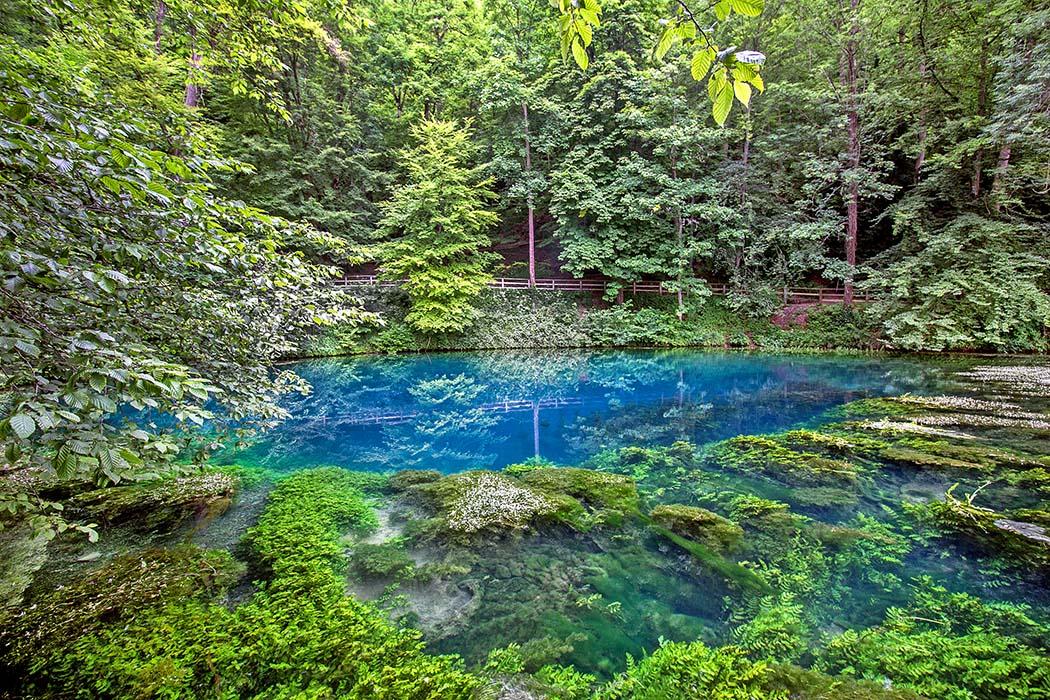 reise-zikaden.de, Der Blautopf in Blaubeuren und die Höhlen der Neandertaler, blautopf Die Wasserfläche der Blautopf-Quelle in Blaubeuren gleicht einem riesigen blau-grünen Auge, das uns aus den Tiefen der Erde anblickt. Foto: Reise-Zikaden, M. Hoffmann