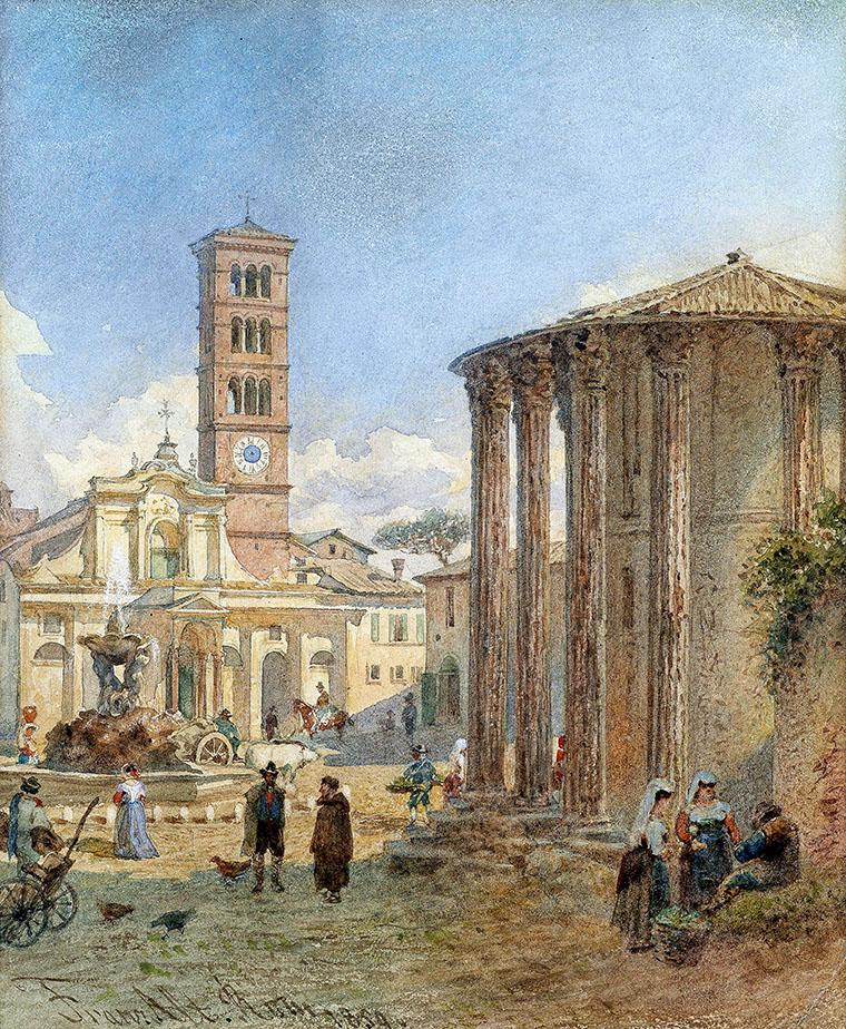 antike sehenswürdigkeiten am tiber-ufer Franz Alt Rome Forum Boarium 1859 Das Forum Boarium im Zentrum von Rom in einer Ansicht von 1859. Das Aquarell stammt vom österreichischen Landschaftsmaler Franz Alt (1821–1914). Foto: Wikipedia