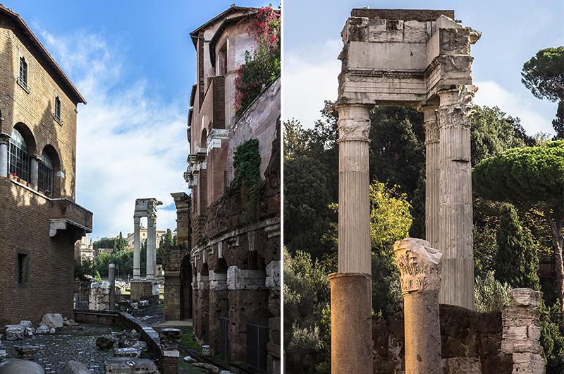 Neben dem Marcellus-Theater stehen die Reste des Tempels für Apollo Sosianus.