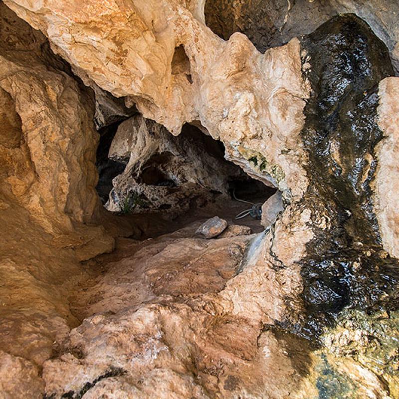 In den hinteren Teil der Höhle kommen wir nur kriechend.