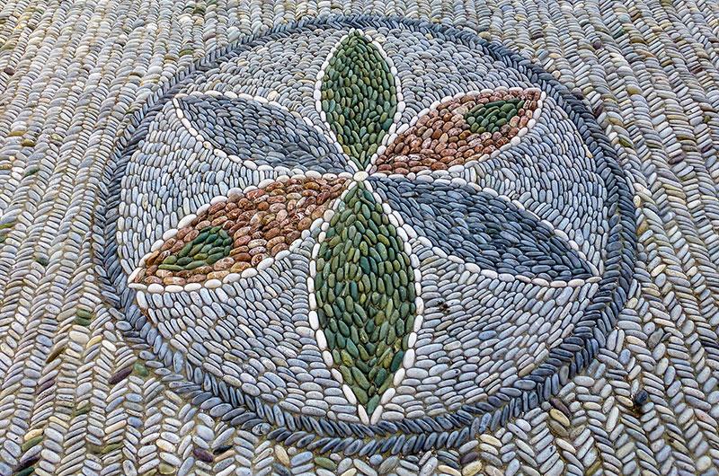 Wunderschönes Kieselstein-Mosaik.