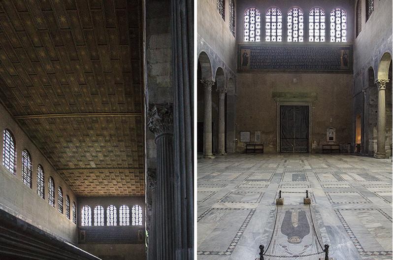 Die Fenster sind außerordentlich groß und tauchen das Mittelschiff in helles Licht. Über der Eingangstür (rechts) die Weihinschrift für Santa Sabina aus dem 5. Jhd.