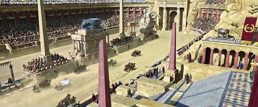 """antike sehenswürdigkeiten am tiber-ufer ben hur movie 2016 Die Filmszene aus dem Kinofilm """"Ben Hur"""" (2016) zeigt die beliebten Wagenrennen im Circus Maximus. Die spannenden Wettkämpfe begeisterten und besänftigten die Massen."""