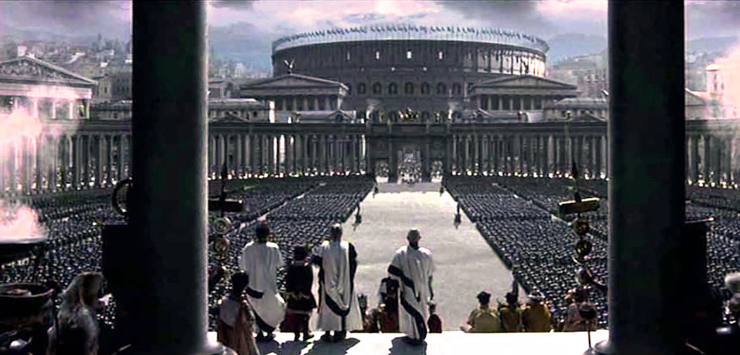 "gladiator_movie_forum Blick vom Kapitolshügel, über das Forum Romanum zum Kolosseum. Die Szene stammt aus dem Kinofilm ""Gladiator"" (2000)."
